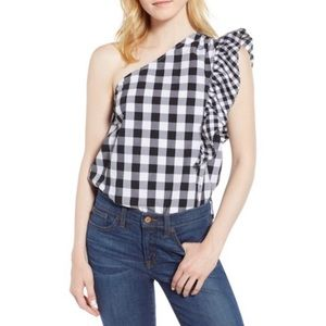 J. Crew one shoulder gingham Maybe ruffle top 12